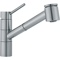 Franke FF-2080 Twin Single-Handle Pull-Out Spray Kitchen Faucet (Satin Nickel)