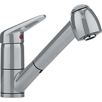 Franke FF2280 Ribera Series Pull-Out Spray Kitchen Faucet with Top Lever, 1.75gpm (Satin Nickel)