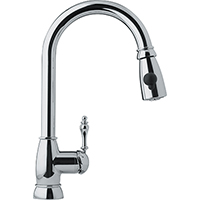 Franke FHPD100 Farm House Series Arc Spout Pull-Down Spray with Side Lever, 1.75gpm (Polished Chrome)